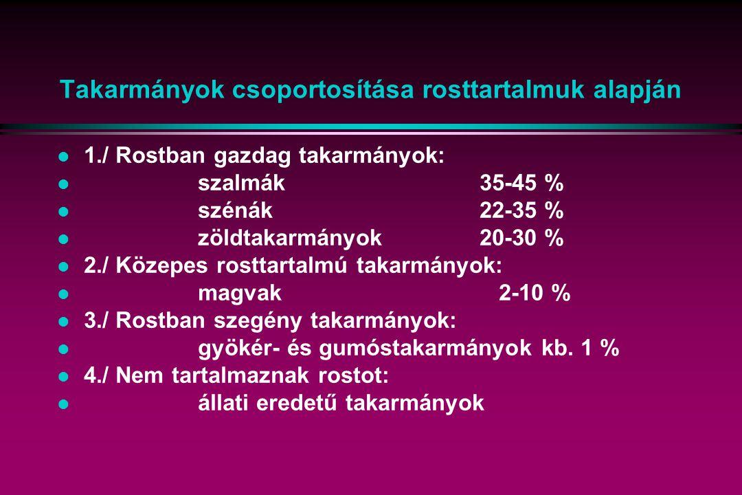 Takarmányok csoportosítása rosttartalmuk alapján l 1./ Rostban gazdag takarmányok: l szalmák35-45 % l szénák22-35 % l zöldtakarmányok20-30 % l 2./ Köz