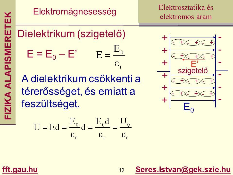 FIZIKA ALAPISMERETEK fft.gau.hu.hu 10 Seres.Istvan@gek.szie.hu Elektrosztatika és elektromos áram Elektromágnesesség Dielektrikum (szigetelő) ++++++++++++ ------------ E0E0 - + E' - + szigetelő E = E 0 – E' A dielektrikum csökkenti a térerősséget, és emiatt a feszültséget.