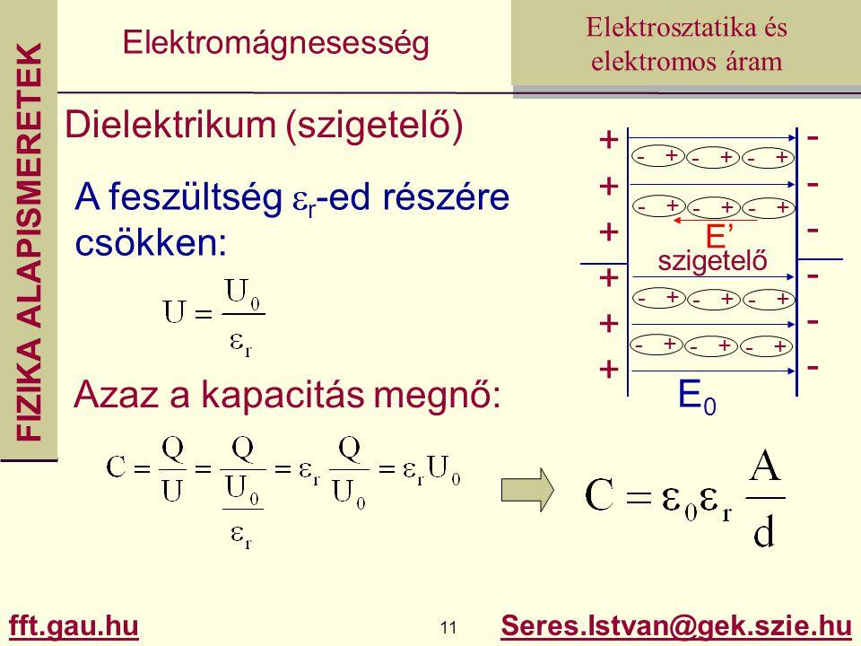 FIZIKA ALAPISMERETEK fft.gau.hu.hu 11 Seres.Istvan@gek.szie.hu Elektrosztatika és elektromos áram Elektromágnesesség Dielektrikum (szigetelő) ++++++++++++ ------------ E0E0 - + E' - + szigetelő Azaz a kapacitás megnő: A feszültség  r -ed részére csökken: