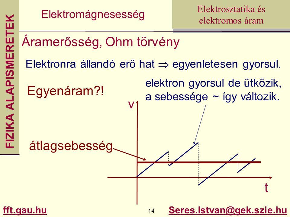 FIZIKA ALAPISMERETEK fft.gau.hu.hu 14 Seres.Istvan@gek.szie.hu Elektrosztatika és elektromos áram Elektromágnesesség Áramerősség, Ohm törvény Elektronra állandó erő hat  egyenletesen gyorsul.