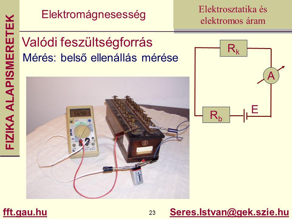 FIZIKA ALAPISMERETEK fft.gau.hu.hu 23 Seres.Istvan@gek.szie.hu Elektrosztatika és elektromos áram Elektromágnesesség Valódi feszültségforrás Mérés: belső ellenállás mérése RkRk A RbRb E