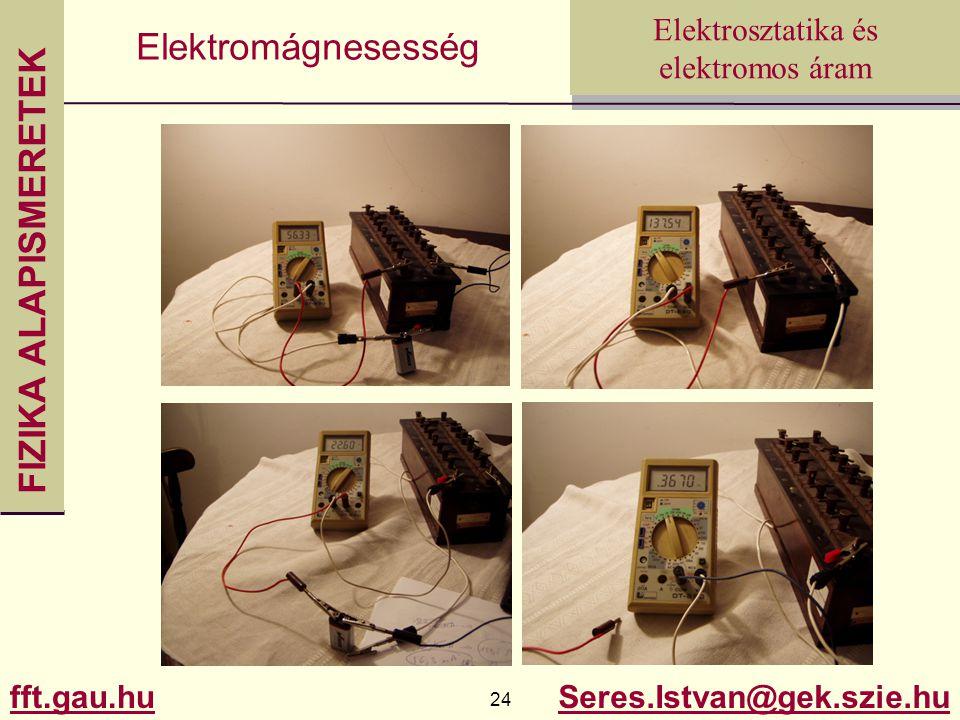 FIZIKA ALAPISMERETEK fft.gau.hu.hu 24 Seres.Istvan@gek.szie.hu Elektrosztatika és elektromos áram Elektromágnesesség