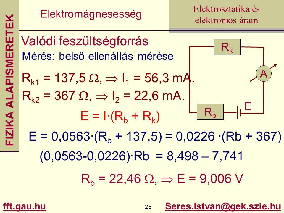 FIZIKA ALAPISMERETEK fft.gau.hu.hu 25 Seres.Istvan@gek.szie.hu Elektrosztatika és elektromos áram Elektromágnesesség Valódi feszültségforrás Mérés: belső ellenállás mérése R k1 = 137,5 ,  I 1 = 56,3 mA.