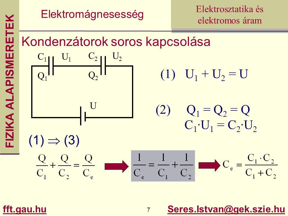 FIZIKA ALAPISMERETEK fft.gau.hu.hu 7 Seres.Istvan@gek.szie.hu Elektrosztatika és elektromos áram Elektromágnesesség Kondenzátorok soros kapcsolása C 1 U 1 Q 1 C 2 U 2 Q 2 U (1) U 1 + U 2 = U (2) Q 1 = Q 2 = Q C 1 ·U 1 = C 2 ·U 2 (1)  (3)