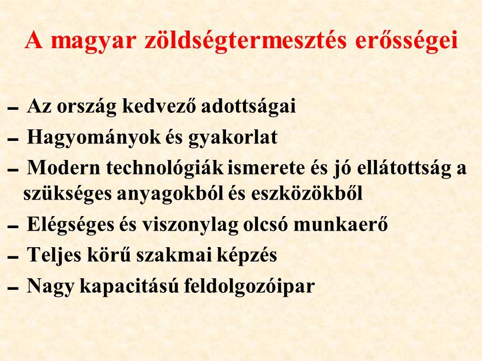 A magyar zöldségtermesztés erősségei  Az ország kedvező adottságai  Hagyományok és gyakorlat  Modern technológiák ismerete és jó ellátottság a szük
