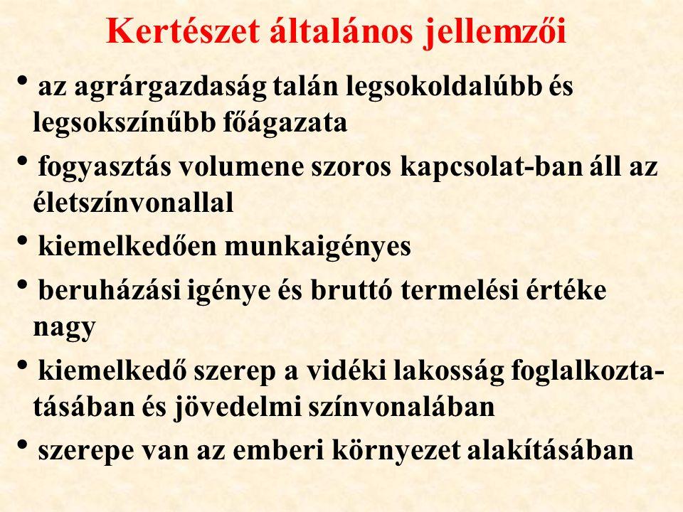 Kertészeti termesztés jelentősége Magyarországon (MKT, MZGYT 2003) Kertészeti növények termesztésével hasznosított terület kb.