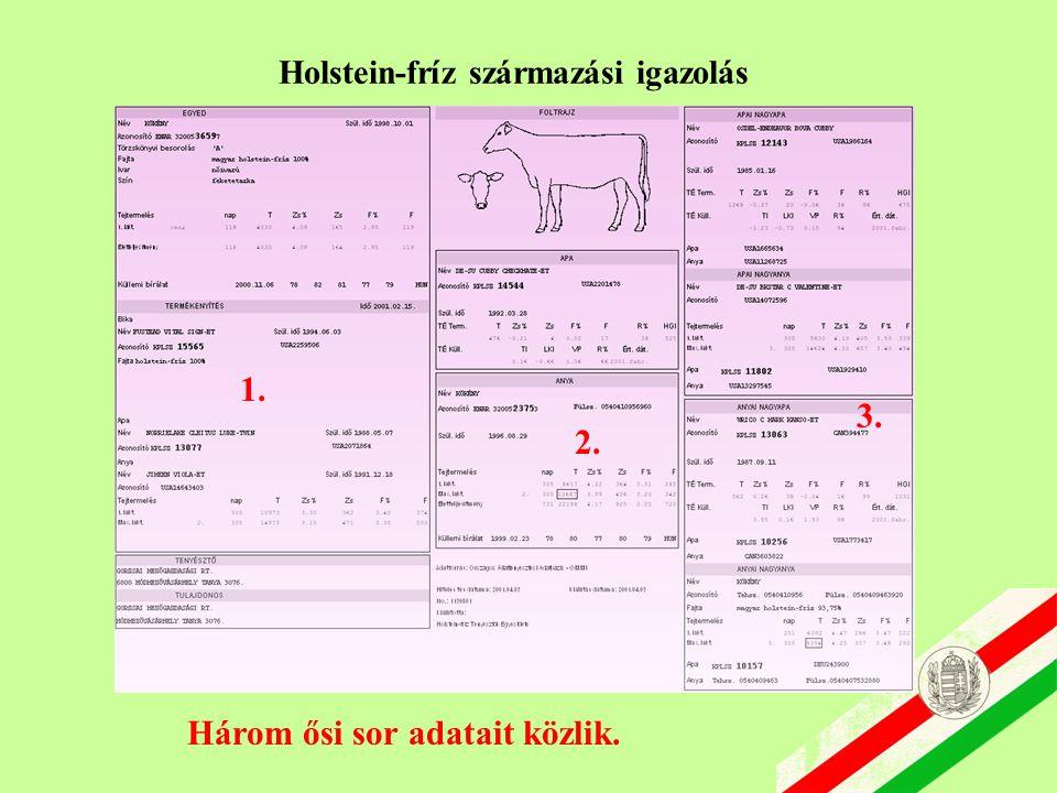 Holstein-fríz származási igazolás 1. 2. 3. Három ősi sor adatait közlik.
