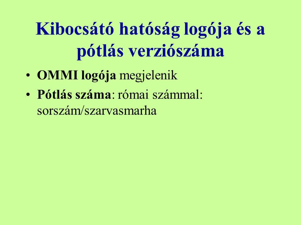 Kibocsátó hatóság logója és a pótlás verziószáma OMMI logója megjelenik Pótlás száma: római számmal: sorszám/szarvasmarha