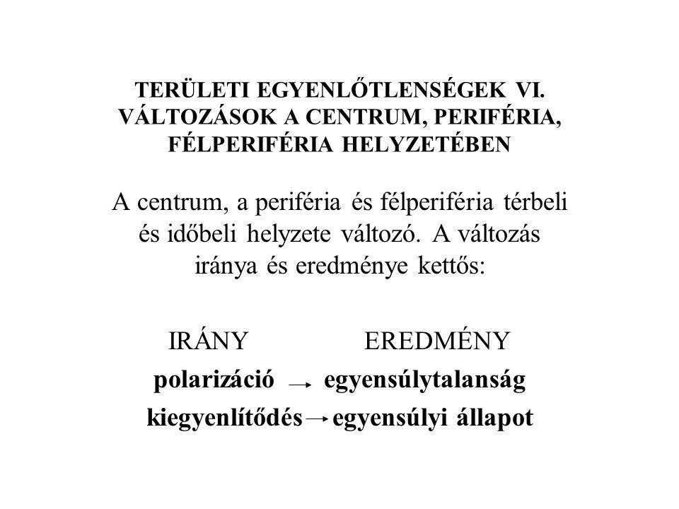 TERÜLETI EGYENLŐTLENSÉGEK XVII.CENTRUM-PERIFÉRIA MODELLEK 2.