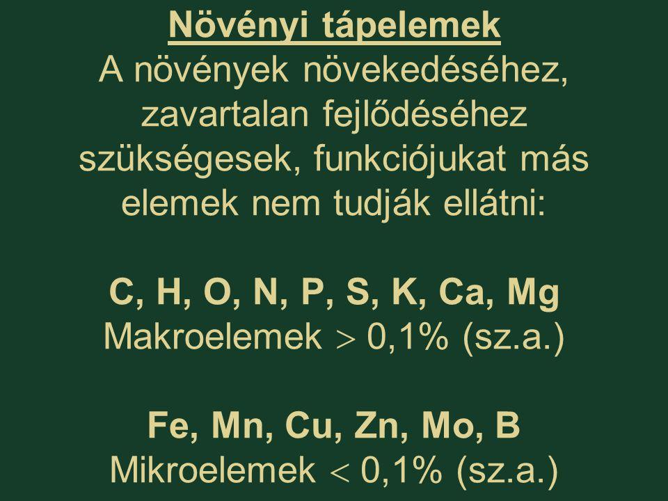 Növényi tápelemek fajonként, fajtánként, részenként különböző a koncentrációban: N, K2,0 - 6,0 % Ca, P, S0,3 - 1,5 % Mg, Na0,2 - 0,6 % Fe, Mn20 - 200 ppm Zn20 - 100 ppm Cu 5 - 10 ppm B (egyszikű)  10 ppm B (kétszikű)20 – 100 ppm Mo  1 ppm ppm milliomod rész mg/kgg/t 2000-6000 ppm 0,002-0,02 % Földkéregben: N: 0,03% K: 2% Ca: 3% P: 0,1% S: 0,05% Mg: 2% Na: 2% Fe: 5% Mn: 0,1% Zn: 0,01% Cu: 0,01% B: 0,002% Mo: 0,001% Ionantagonizmus – Ion szinergizmus (A tápanyagfelvétel akadályozása vagy serkentése) Az abszolút tápelem tartalom mellett azok egymás közötti aránya is döntő a növények 'normális' fejlődése szempontjából.