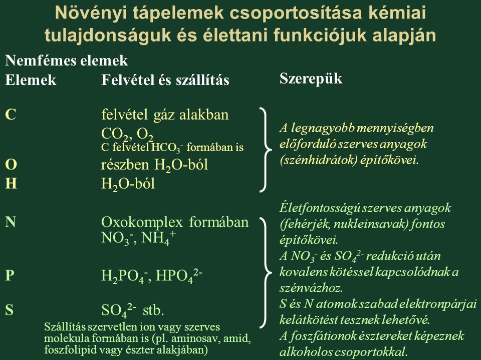 Növényi tápelemek csoportosítása kémiai tulajdonságuk és élettani funkciójuk alapján Nemfémes elemek ElemekFelvétel és szállítás Cfelvétel gáz alakban