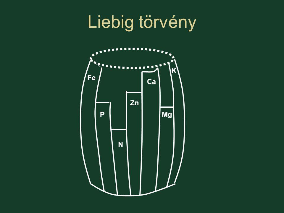 Liebig törvény N K Ca MgP Fe Zn
