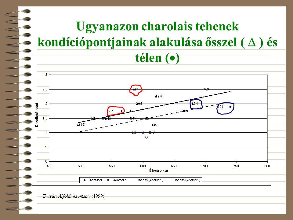 Ugyanazon charolais tehenek kondíciópontjainak alakulása ősszel (  ) és télen (  )