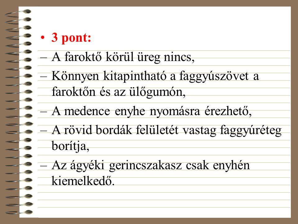 3 pont: –A faroktő körül üreg nincs, –Könnyen kitapintható a faggyúszövet a faroktőn és az ülőgumón, –A medence enyhe nyomásra érezhető, –A rövid bord