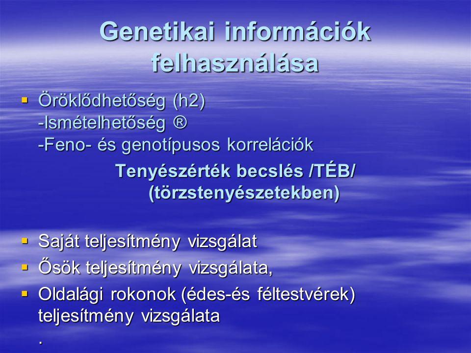 Genetikai információk felhasználása  Öröklődhetőség (h2) -Ismételhetőség ® -Feno- és genotípusos korrelációk Tenyészérték becslés /TÉB/ (törzstenyész