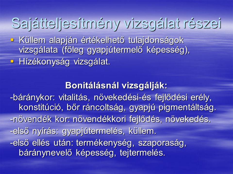 Sajátteljesítmény vizsgálat részei  Küllem alapján értékelhető tulajdonságok vizsgálata (főleg gyapjútermelő képesség),  Hízékonyság vizsgálat. Boni
