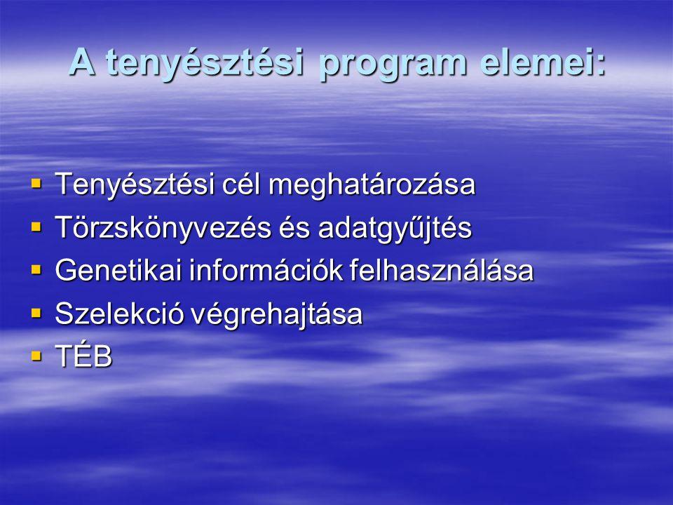 A tenyésztési program elemei:  Tenyésztési cél meghatározása  Törzskönyvezés és adatgyűjtés  Genetikai információk felhasználása  Szelekció végreh