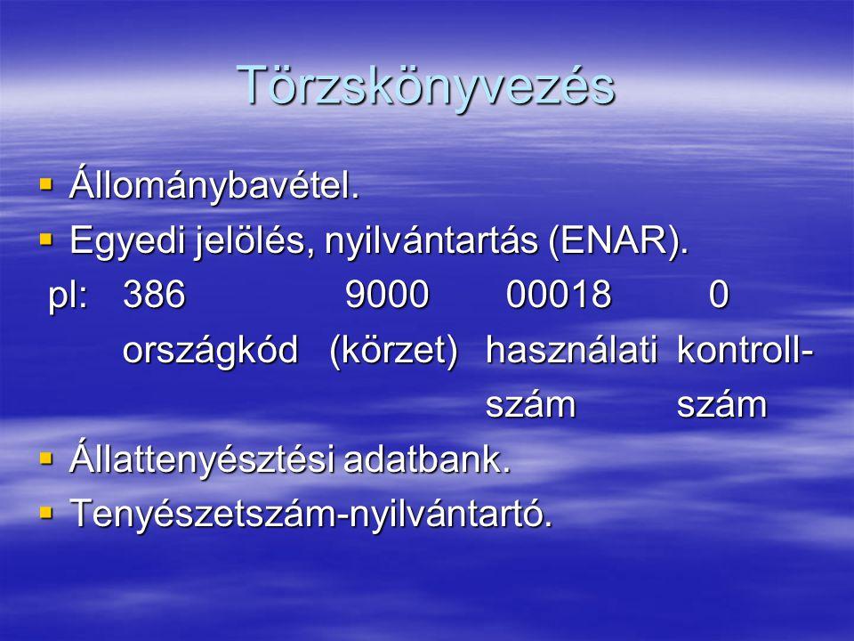 Törzskönyvezés  Állománybavétel.  Egyedi jelölés, nyilvántartás (ENAR). pl: 386 9000 00018 0 pl: 386 9000 00018 0 országkód (körzet) használati kont