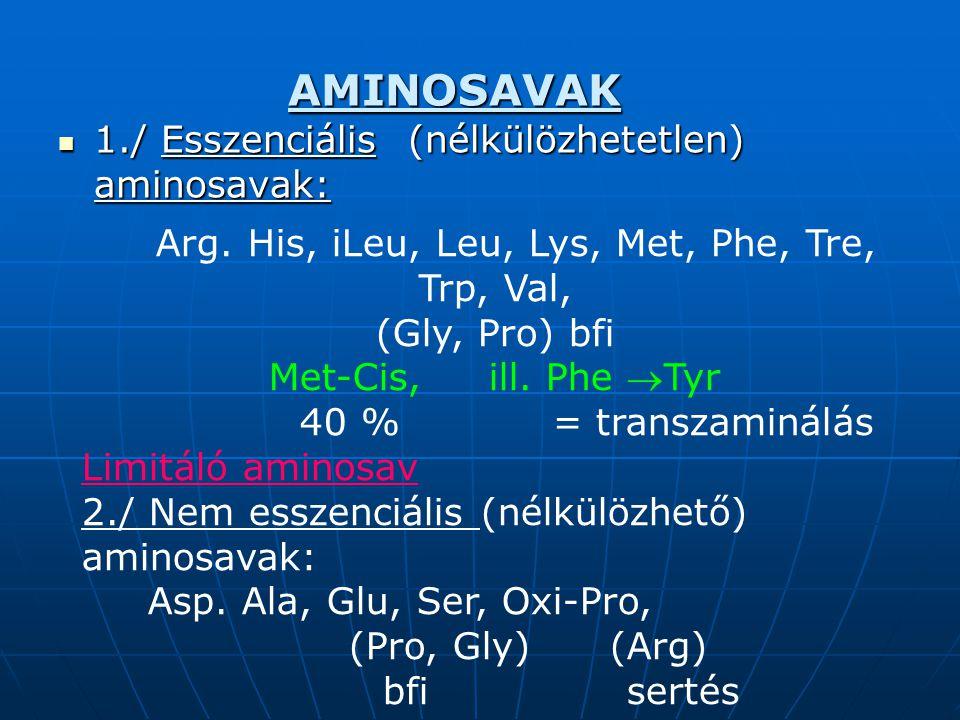 Monogasztrikus állatok fehérjeellátása Aminosav komplettálás Aminosav komplettálás A magyar takarmánybázis LIZIN-ben szegény.