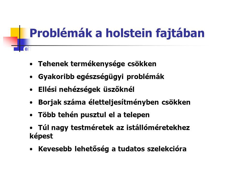 Problémák a holstein fajtában Circumstances have changed regarding the historical superiority of pure Holsteins Tehenek termékenysége csökken Gyakorib