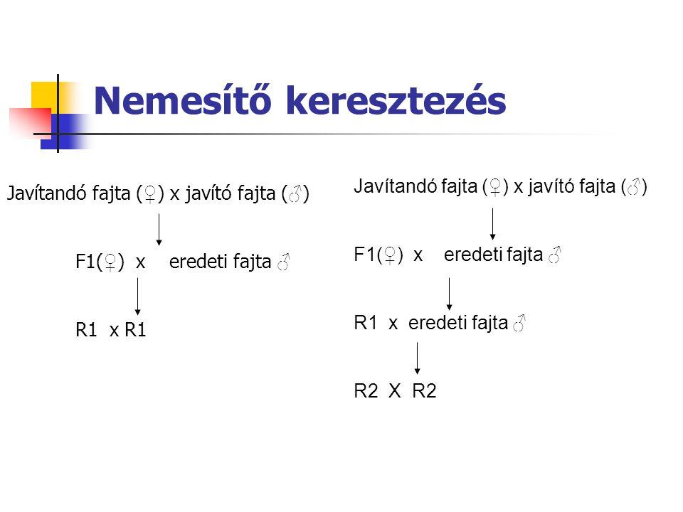 Nemesítő keresztezés Javítandó fajta (♀) x javító fajta (♂) F1(♀) x eredeti fajta ♂ R1 x eredeti fajta ♂ R2 X R2 Javítandó fajta ( ♀ ) x javító fajta