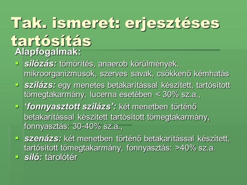 Silótipusok Ideiglenes silók :  zsombolyai kazal (kazalsiló, meleg- hidegerjesztés, önetetés, kis beruházási költség)  fóliával fedett kazal (8*14*1,5m)  fóliazsák (rosszul tömöríthető, kisüzemi módszer, rossz térfogatkihaszálás)  vermelés (kötött talaj, 2m mély * 3-6m széles árok, 1,5m magas)  szalmabála-siló  ároksiló (kötött talaj, fóliával v.