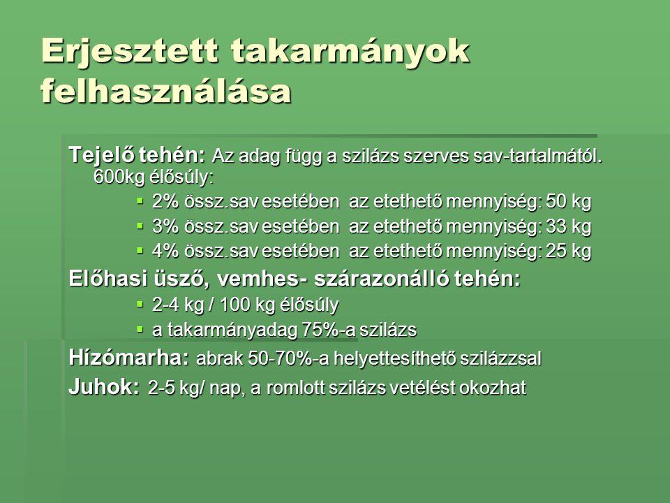 Erjesztett takarmányok felhasználása Tejelő tehén: Az adag függ a szilázs szerves sav-tartalmától. 600kg élősúly:  2% össz.sav esetében az etethető m