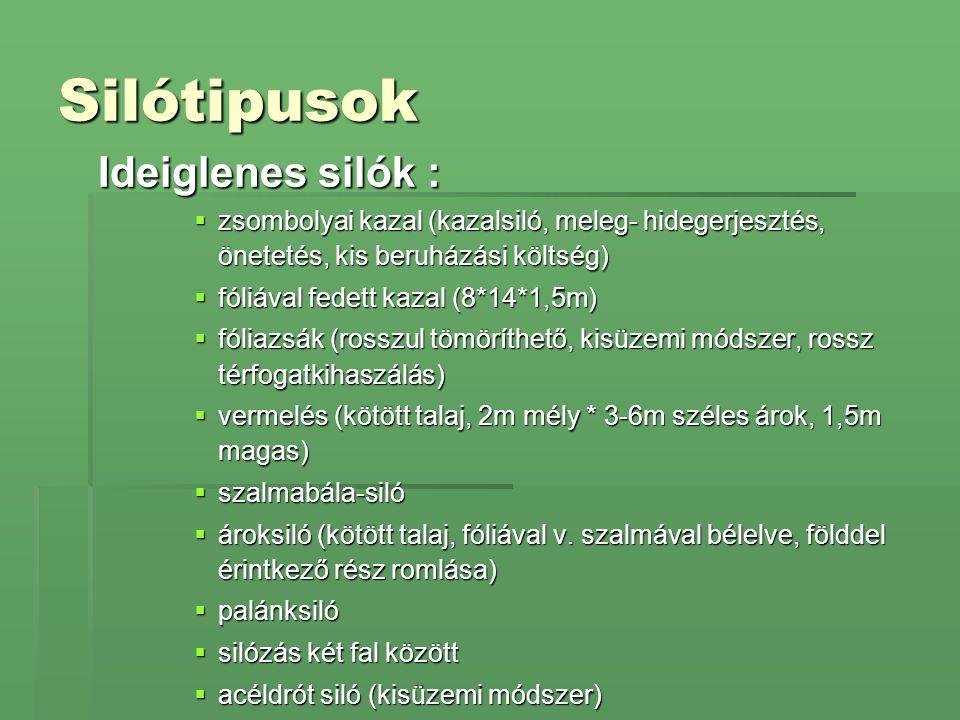 Silótipusok Ideiglenes silók :  zsombolyai kazal (kazalsiló, meleg- hidegerjesztés, önetetés, kis beruházási költség)  fóliával fedett kazal (8*14*1