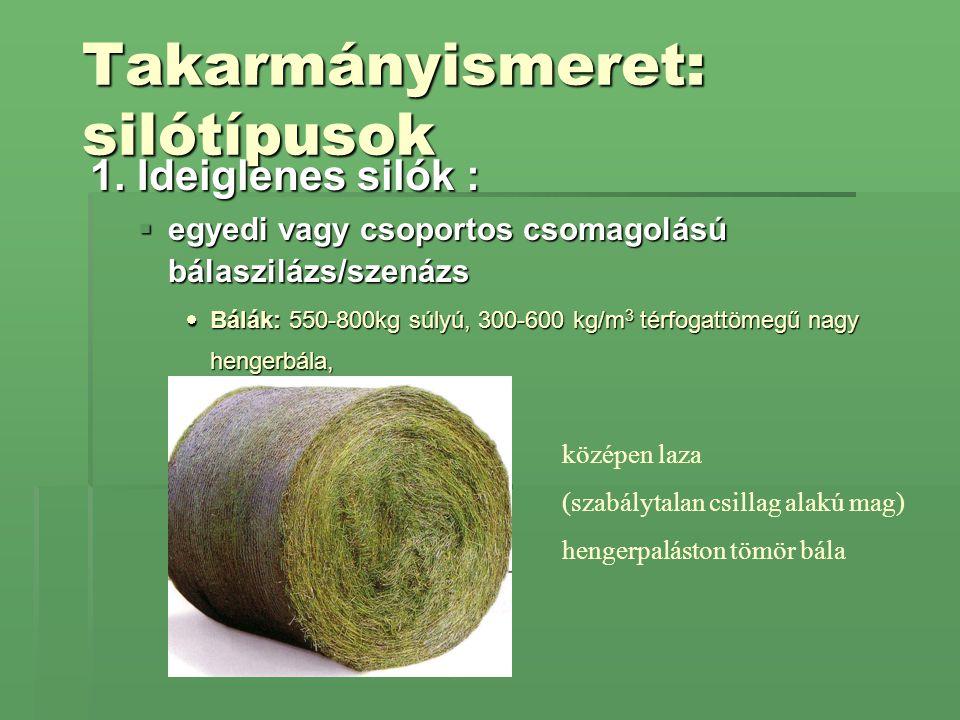 Takarmányismeret: silótípusok 1. Ideiglenes silók :  egyedi vagy csoportos csomagolású bálaszilázs/szenázs  Bálák: 550-800kg súlyú, 300-600 kg/m 3 t