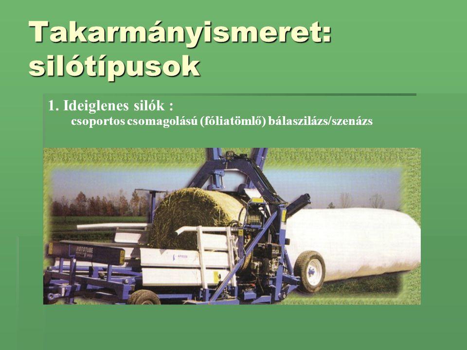 Takarmányismeret: silótípusok 1. Ideiglenes silók : csoportos csomagolású (fóliatömlő) bálaszilázs/szenázs
