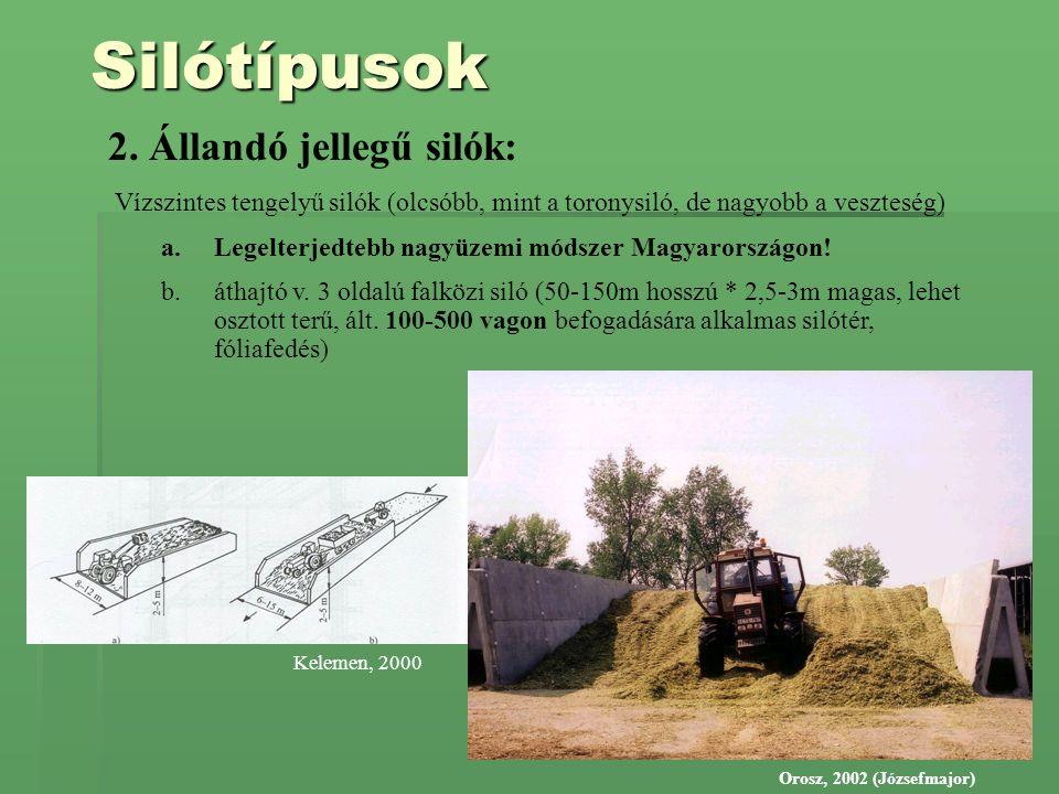 Silótípusok 2. Állandó jellegű silók: Vízszintes tengelyű silók (olcsóbb, mint a toronysiló, de nagyobb a veszteség) a.Legelterjedtebb nagyüzemi módsz