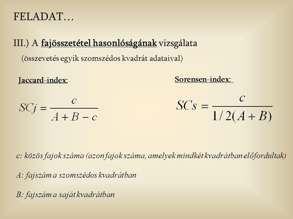 Jaccard-index: c: közös fajok száma (azon fajok száma, amelyek mindkét kvadrátban előfordultak) A: fajszám a szomszédos kvadrátban B: fajszám a saját kvadrátban FELADAT… III.) A fajösszetétel hasonlóságának vizsgálata (összevetés egyik szomszédos kvadrát adataival) Sorensen-index: