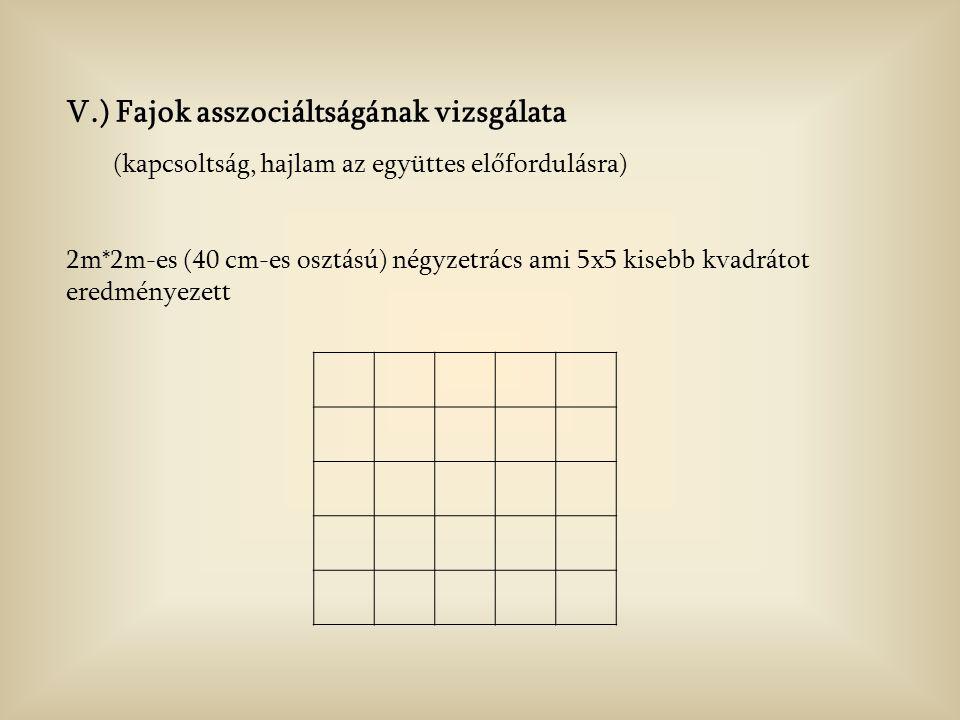 V.) Fajok asszociáltságának vizsgálata (kapcsoltság, hajlam az együttes előfordulásra) 2m*2m-es (40 cm-es osztású) négyzetrács ami 5x5 kisebb kvadrátot eredményezett