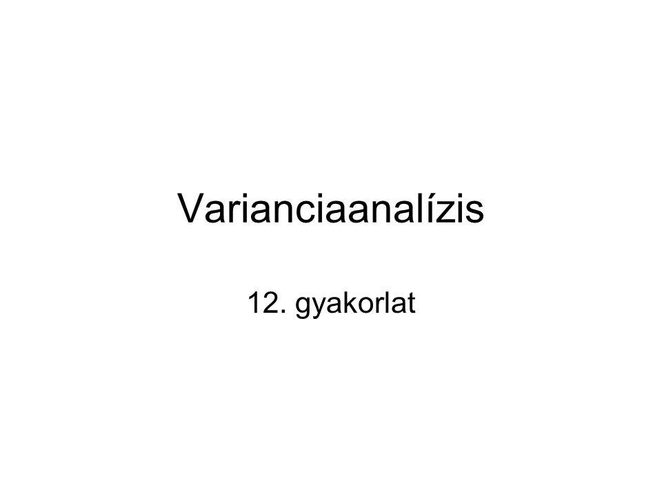 ANOVA: ANalysis Of VAriance Neve félrevezető: nem varianciák, hanem átlagok összevetésére dolgozták ki Lényegében a kétmintás t-próba kiterjesztése kettőnél több alapsokaság ismeretlen várható értékének az összehasonlítására.