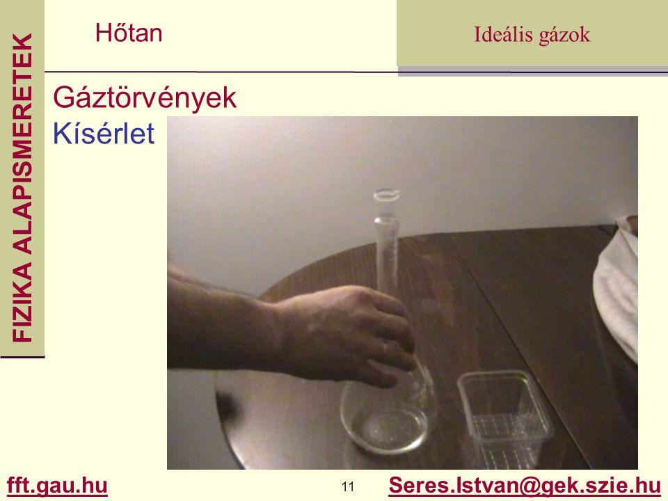 FIZIKA ALAPISMERETEK fft.gau.hu.gau.hu 11 Seres.Istvan@gek.szie.hu Ideális gázok Hőtan Gáztörvények Kísérlet