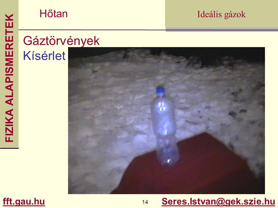 FIZIKA ALAPISMERETEK fft.gau.hu.gau.hu 14 Seres.Istvan@gek.szie.hu Ideális gázok Hőtan Gáztörvények Kísérlet