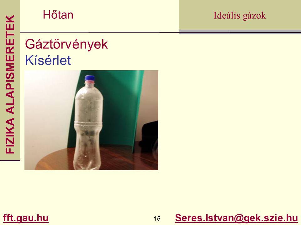 FIZIKA ALAPISMERETEK fft.gau.hu.gau.hu 15 Seres.Istvan@gek.szie.hu Ideális gázok Hőtan Gáztörvények Kísérlet