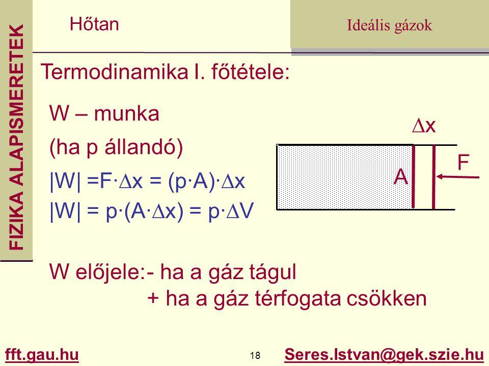 FIZIKA ALAPISMERETEK fft.gau.hu.gau.hu 18 Seres.Istvan@gek.szie.hu Ideális gázok Hőtan Termodinamika I. főtétele: W – munka (ha p állandó) A xx F |W