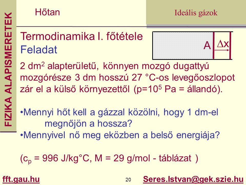 FIZIKA ALAPISMERETEK fft.gau.hu.gau.hu 20 Seres.Istvan@gek.szie.hu Ideális gázok Hőtan Termodinamika I. főtétele Feladat 2 dm 2 alapterületű, könnyen
