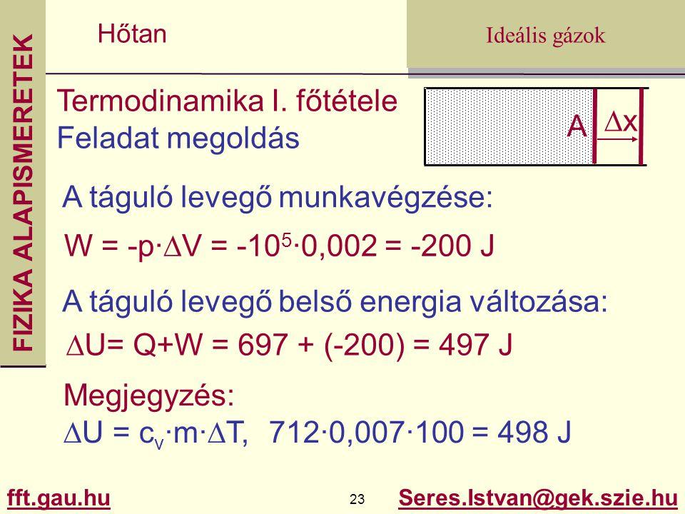 FIZIKA ALAPISMERETEK fft.gau.hu.gau.hu 23 Seres.Istvan@gek.szie.hu Ideális gázok Hőtan Termodinamika I. főtétele Feladat megoldás A xx A táguló leve