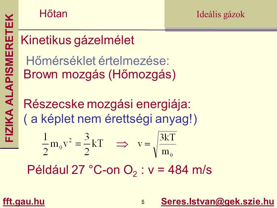 FIZIKA ALAPISMERETEK fft.gau.hu.gau.hu 5 Seres.Istvan@gek.szie.hu Ideális gázok Hőtan Kinetikus gázelmélet Hőmérséklet értelmezése: Brown mozgás (Hőmo