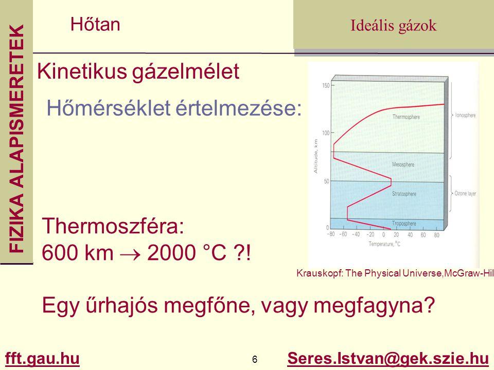 FIZIKA ALAPISMERETEK fft.gau.hu.gau.hu 6 Seres.Istvan@gek.szie.hu Ideális gázok Hőtan Kinetikus gázelmélet Hőmérséklet értelmezése: Thermoszféra: 600