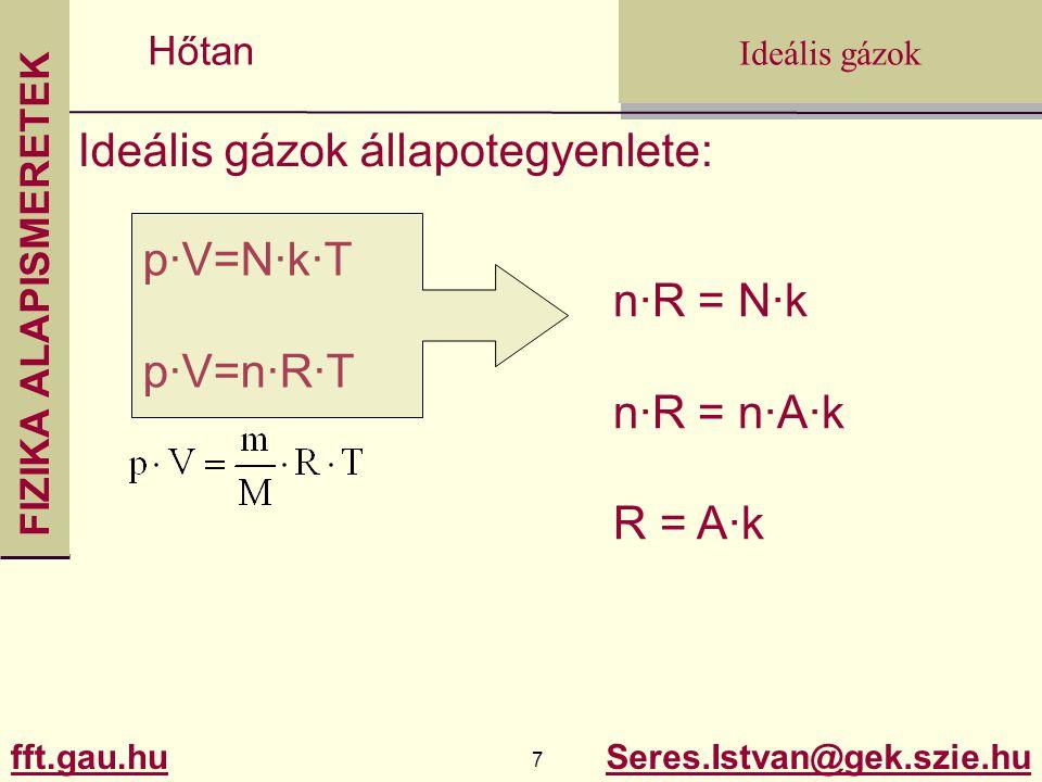 FIZIKA ALAPISMERETEK fft.gau.hu.gau.hu 7 Seres.Istvan@gek.szie.hu Ideális gázok Hőtan Ideális gázok állapotegyenlete: p·V=N·k·T p·V=n·R·T n·R = N·k n·