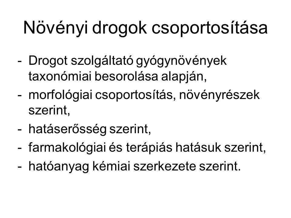 Növényi drogok csoportosítása -Drogot szolgáltató gyógynövények taxonómiai besorolása alapján, -morfológiai csoportosítás, növényrészek szerint, -hatá
