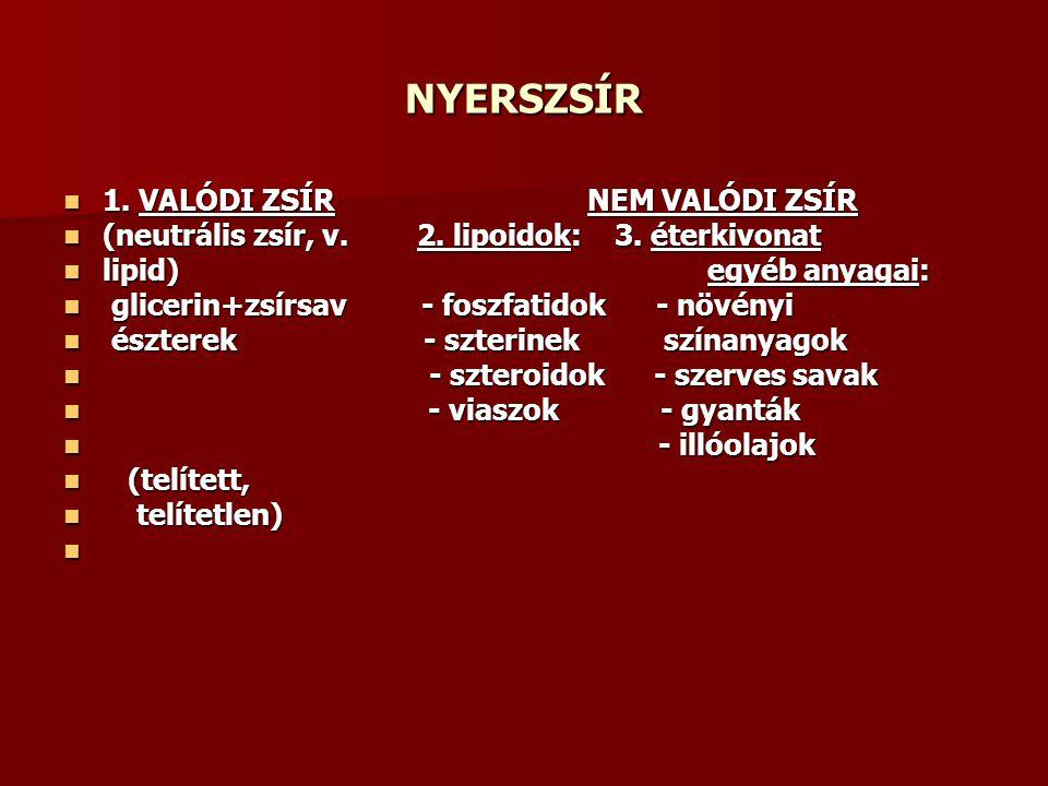 NYERSZSÍR 1. VALÓDI ZSÍRNEM VALÓDI ZSÍR 1. VALÓDI ZSÍRNEM VALÓDI ZSÍR (neutrális zsír, v. 2. lipoidok: 3. éterkivonat (neutrális zsír, v. 2. lipoidok: