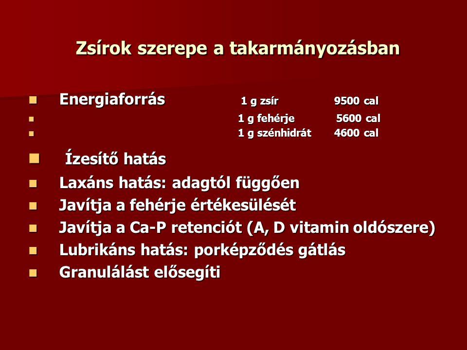 Zsírok szerepe a takarmányozásban Zsírok szerepe a takarmányozásban Energiaforrás 1 g zsír 9500 cal Energiaforrás 1 g zsír 9500 cal 1 g fehérje 5600 c