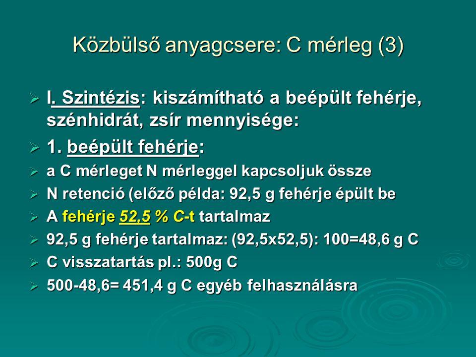 Közbülső anyagcsere: C mérleg (3)  I.