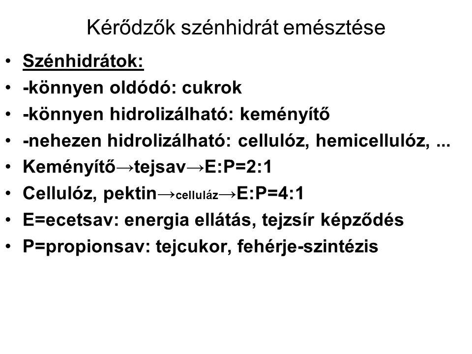 Kérődzők szénhidrát emésztése Szénhidrátok: -könnyen oldódó: cukrok -könnyen hidrolizálható: keményítő -nehezen hidrolizálható: cellulóz, hemicellulóz,...