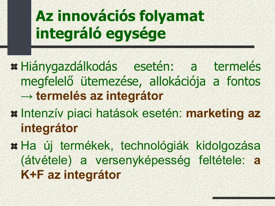 Az innovációs folyamat integráló egysége Hiánygazdálkodás esetén: a termelés megfelelő ütemezése, allokációja a fontos → termelés az integrátor Intenzív piaci hatások esetén: marketing az integrátor Ha új termékek, technológiák kidolgozása (átvétele) a versenyképesség feltétele: a K+F az integrátor