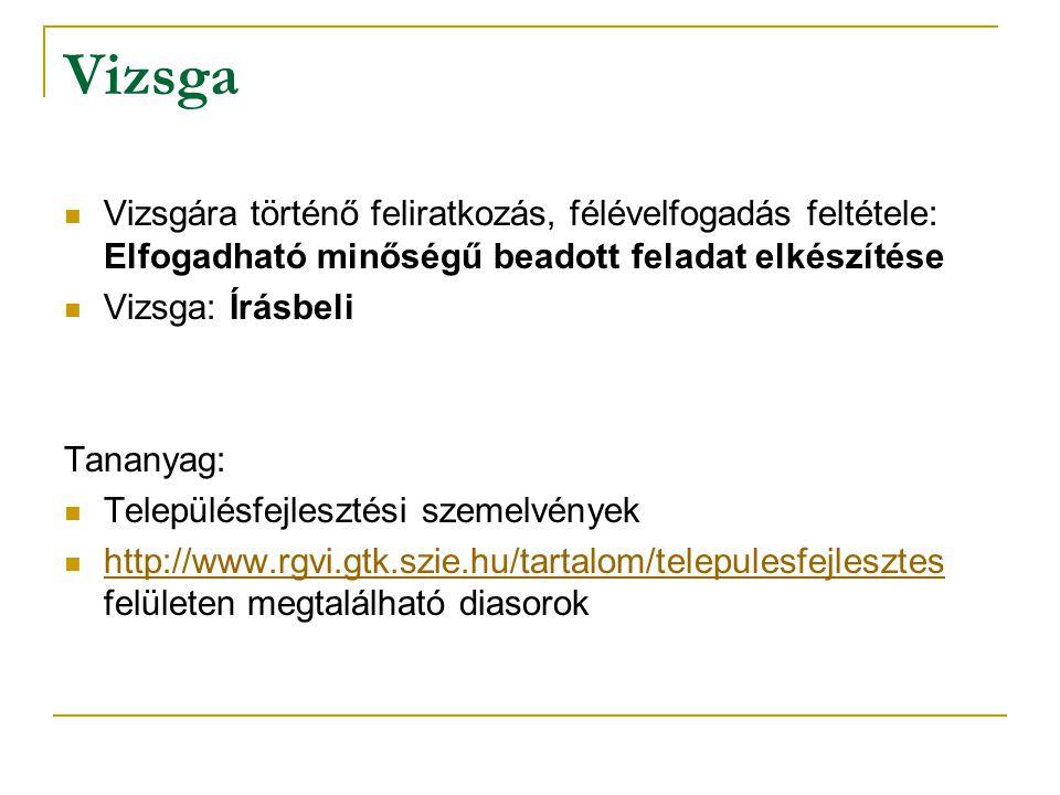 Vizsga Vizsgára történő feliratkozás, félévelfogadás feltétele: Elfogadható minőségű beadott feladat elkészítése Vizsga: Írásbeli Tananyag: Településfejlesztési szemelvények http://www.rgvi.gtk.szie.hu/tartalom/telepulesfejlesztes felületen megtalálható diasorok http://www.rgvi.gtk.szie.hu/tartalom/telepulesfejlesztes